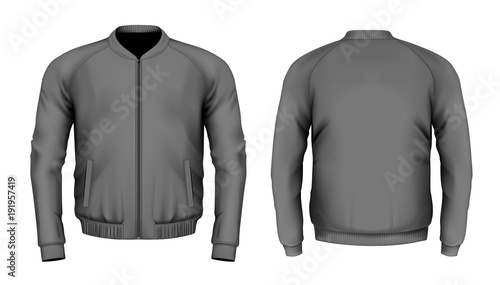 Fotografiet Bomber jacket in black. Front and back views. Vector