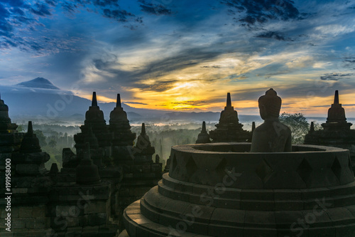 Fotobehang Indonesië Borobudur at Sunrise