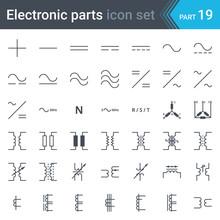 Electric Symbols Set Of Curren...