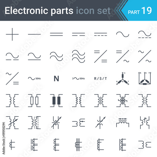 Electric symbols set of current, three-phase connections and ...
