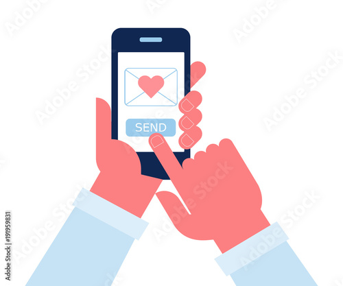 Send or receive love sms mobile phone  Human hand hold cellphone