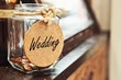 canvas print picture - Vintage retro glass jar with hemp rope tie wedding tag and few coins inside on wood counter concept of saving money for wedding