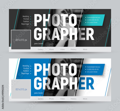set of banner in the style of material design for social networks with diagonal lines and a place for photos. Fototapete