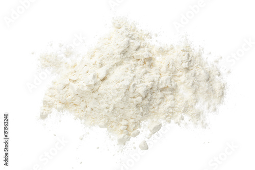 Fényképezés Pile of flour isolated on white background. Top view. Flat lay