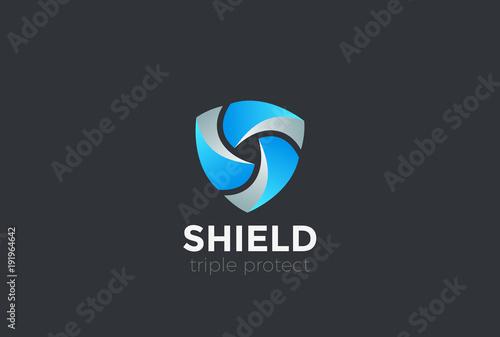 Fototapeta Shield Teamwork protect defense Logo design vector