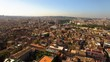 Stunning aerial view of Rome from a drone circling above the city at sunset