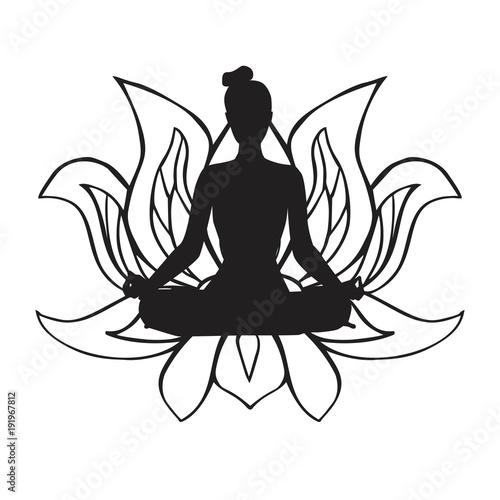 Vector Illustration Of Black Female Silhouette In Yoga Pose And