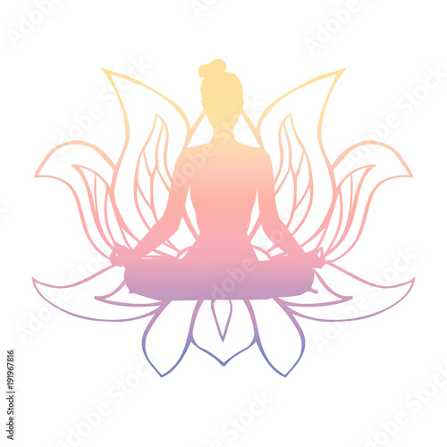 Vector illustration of black female silhouette in yoga pose and vector illustration of black female silhouette in yoga pose and buddhist symbol lotus flower slim mightylinksfo