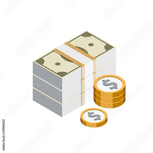 Fotografie, Obraz  Argent Billets Pièces dollar