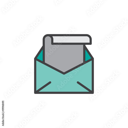 Open Envelope With Letter Filled Outline Icon Line Vector Sign