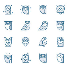 Owl Outline Icons Collection. ...