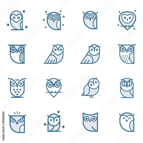 In de dag Uilen cartoon Owl outline icons collection. Set of outline owls and emblems design elements for schools, educational signs. Unique illustration for design.