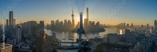 Shanghai Skyline and Huangpu River at Sunrise. Lujiazui District. Panoramic Aerial View.
