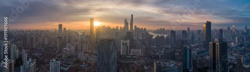 Photo  Shanghai Skyline at Sunrise. Panoramic Aerial View.