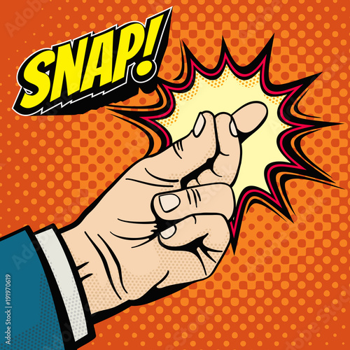 Fototapeta Male hand with snapping finger magic gesture. Its easy vector concept in pop art style obraz