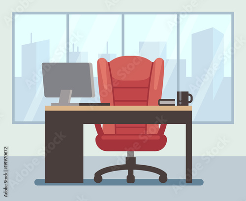 Modern Boss Room With Big Window And Laptop On Desk Empty