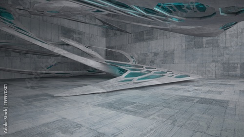 Fototapeta Abstract white and concrete parametric interior  with window. 3D illustration and rendering. obraz na płótnie