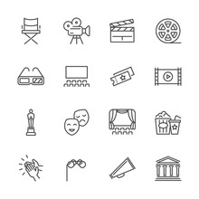 Entertainment And Performance Line Vector Icons. Theater And Cinema Outline Symbols