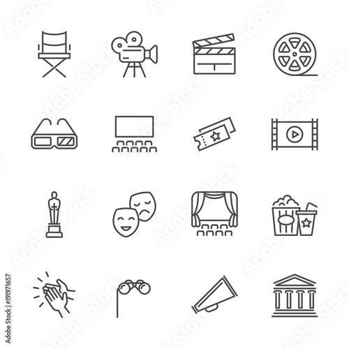 Entertainment and performance line vector icons. Theater and cinema outline symbols Fototapete