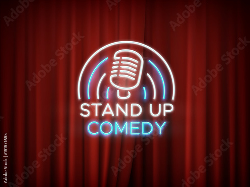 Fotografija  Stand up comedy neon sign with microphone and red curtain vector background