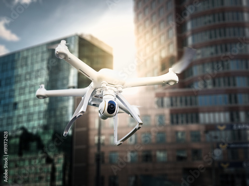 Drone flight concept in the city scenery