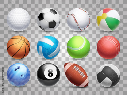 Fényképezés Realistic sports balls vector big set isolated on transparent background