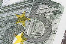 Closeup Photo Of A Part Of Five Euro Bill