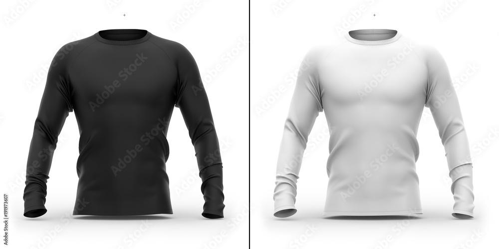 Fototapeta Men's t shirt with long raglan sleeves. 3d rendering. Clipping