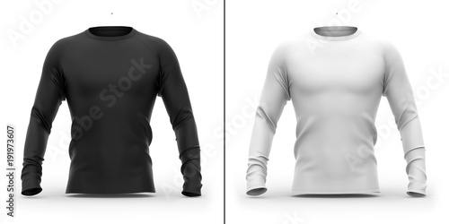 фотография  Men's t shirt with long raglan sleeves. 3d rendering. Clipping