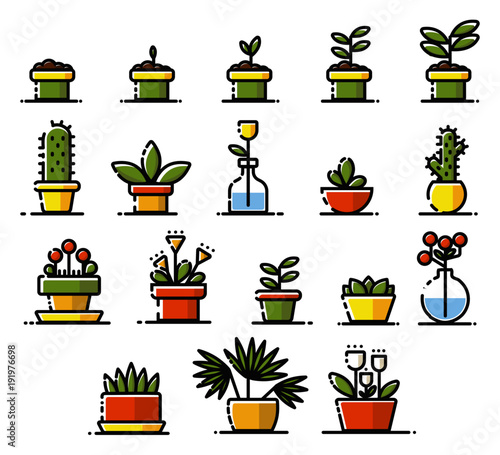 Flat Icon Set With Outlines These Herbs Plants Nature Elements Can Be Used For Info Graphics Nature Sites And Many Other Green Projects As Well Buy This Stock Vector And Explore