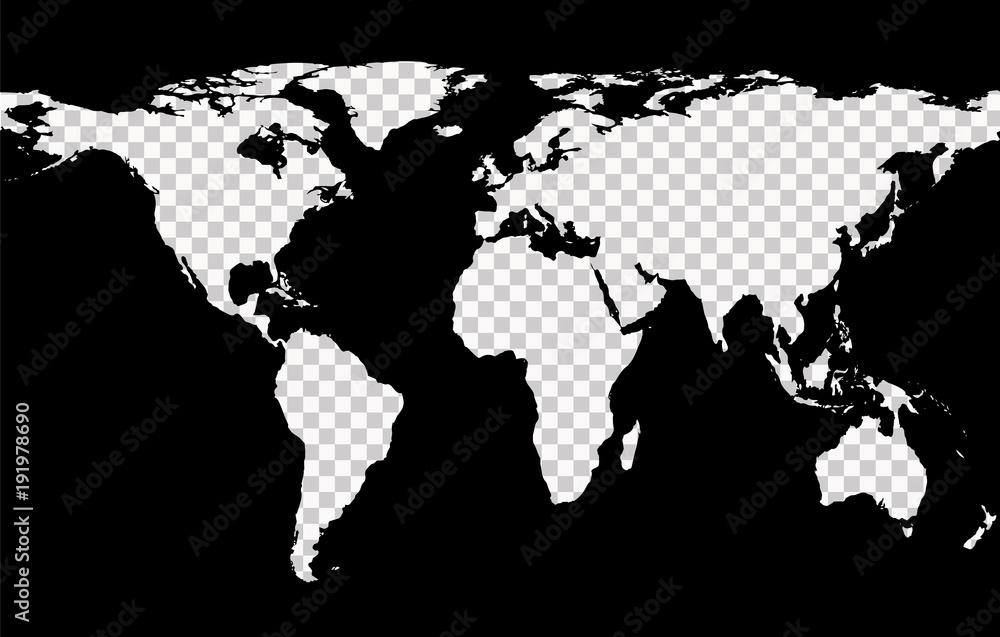 Fototapety, obrazy: Worldwide map with imitation of transparent continents on black background