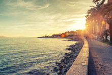 Beautiful Cityscape, The Promenade In Ajaccio At Sunset, Travel To Corsica, France