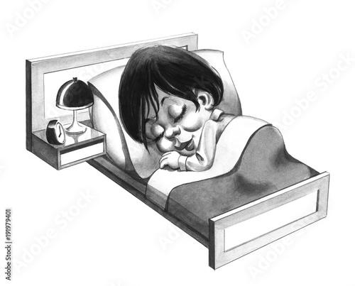 Happy woman caricature sleeping