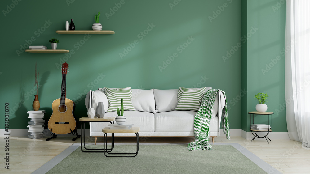 Fototapety, obrazy: Modern mid century and minamalist interior of living room, eco space concept  design , white sofa and green plant on green wall and wood floor ,3d render