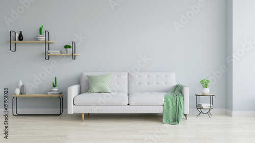 Obraz Modern and minamalist interior of living room , white sofa and wood table on white  blue wall and wood floor ,3d render - fototapety do salonu