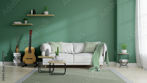 Modern mid century and minamalist interior of living room, eco space concept design , white sofa and green plant on green wall and wood floor ,3d render