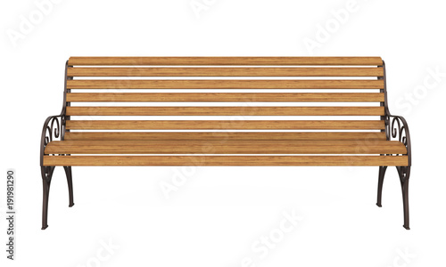 Photo Wooden Park Bench Isolated