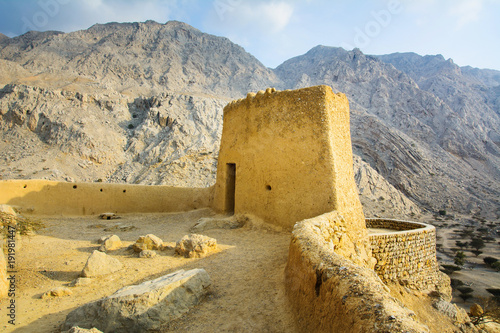 Photo Stands Fortification Dhayah Fort in north Ras Al Khaimah United Arab Emirates