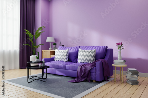 cozy living room interior decorated ultraviolet home decor concept rh stock adobe com