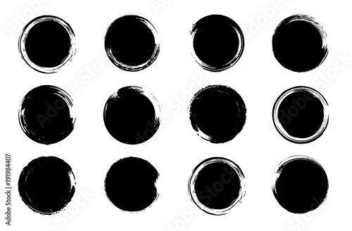 Grunge post stamp set, circles. Round banners, boxes, frames ...