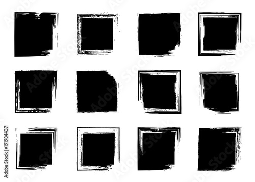 Fotografie, Obraz  Grunge brush frame set, ink square backgrounds for text, information