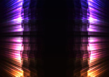 Glow Stripe Overlap In Dark Background, Rainbow Wall Bar Layer Backdrop, Technology Template, Vector Illustration