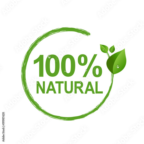 Poster  100% Natural Logo Symbol Transparent Background
