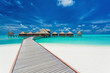 Overwater villas on the tropical lagoon, Maldives