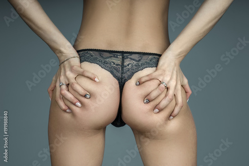 Αφίσα  girl in lace grey panties touching her sexual buttocks