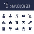 Set of 15 kid icons set. Collection of clockwork car, infant, romper and other elements.