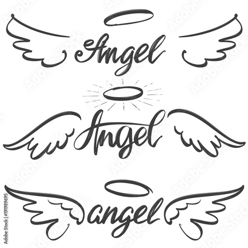 Foto  Angel wings icon sketch collection, religious calligraphic text symbol of Christ