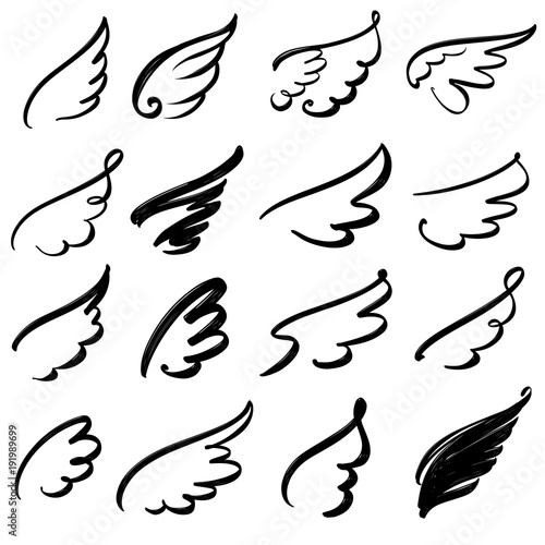 Wings icon sketch collection cartoon hand drawn vector illustration sketch Fototapete