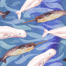 Beluga And Narwhal, Hand Painted Watercolor Illustration, Seamless Pattern On Blue Ocean Surface With Waves Background