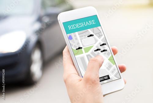 Fotografie, Tablou  Ride share taxi service on smartphone screen